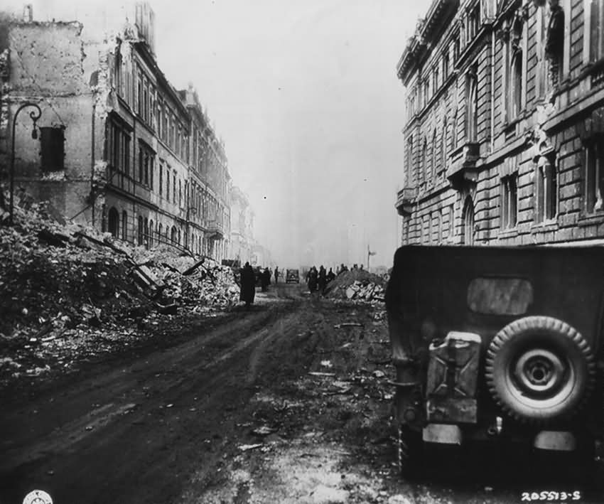 Ruins of Berlin Wilhelmstrasse Platz Reichsfinanzministerium Willys Jeep 1945