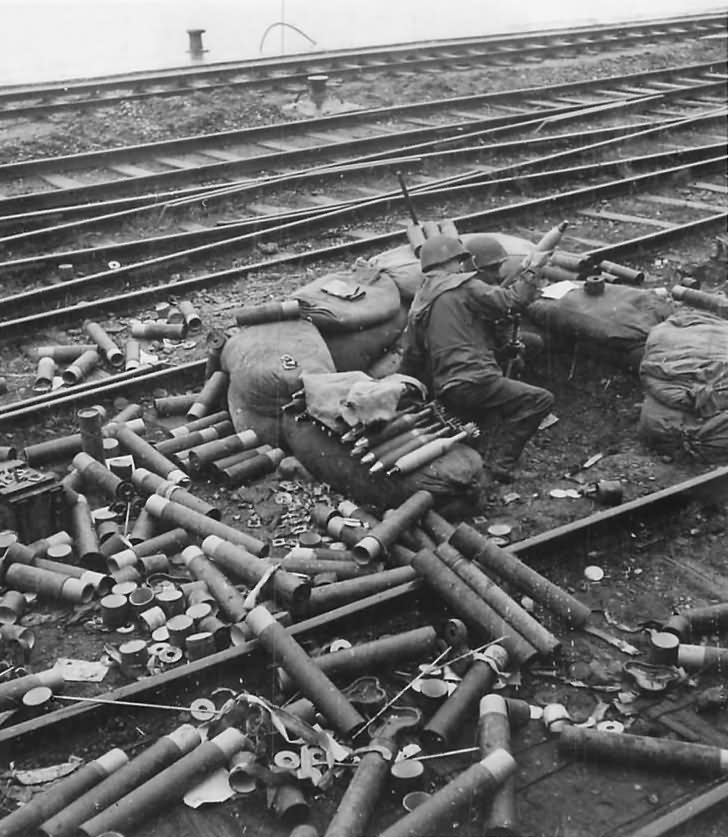 US 7th Army M1 Mortar Crew in Action along Strasbourg Railway 1944
