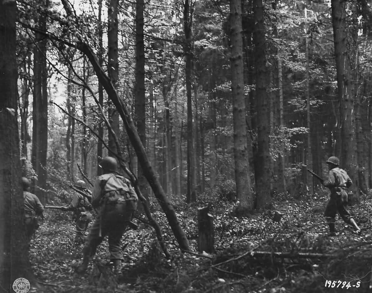 US Infantry Advancing thru Hurtgen Forest near Vossenack 1944