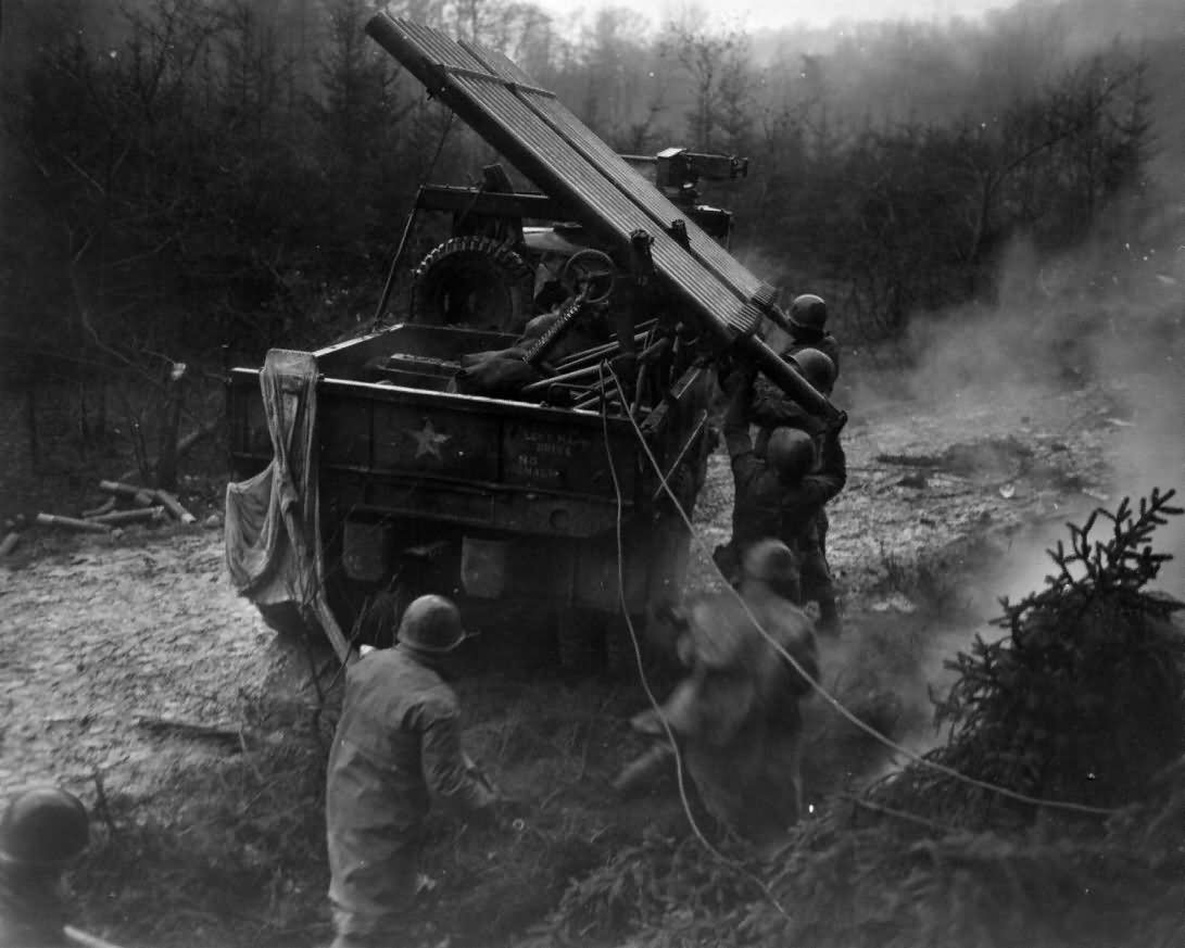 US Soldiers in Hurtgen Forest and Rocket Launcher Germany 1944