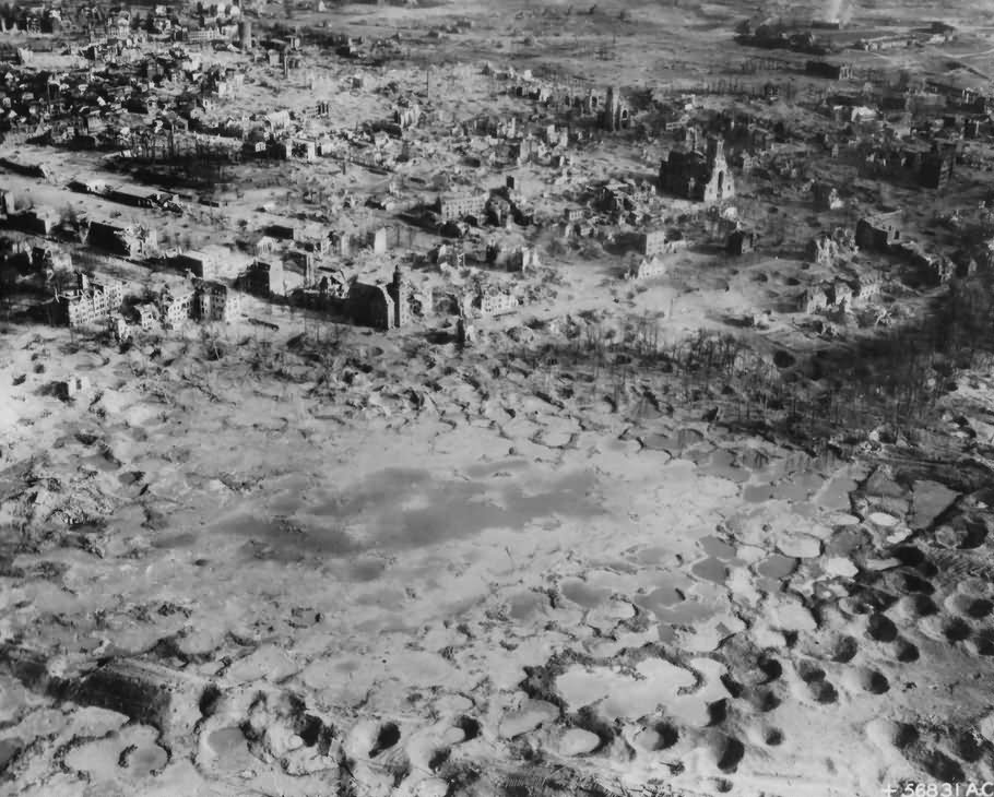 Wesel in ruins after bombing, May 1945