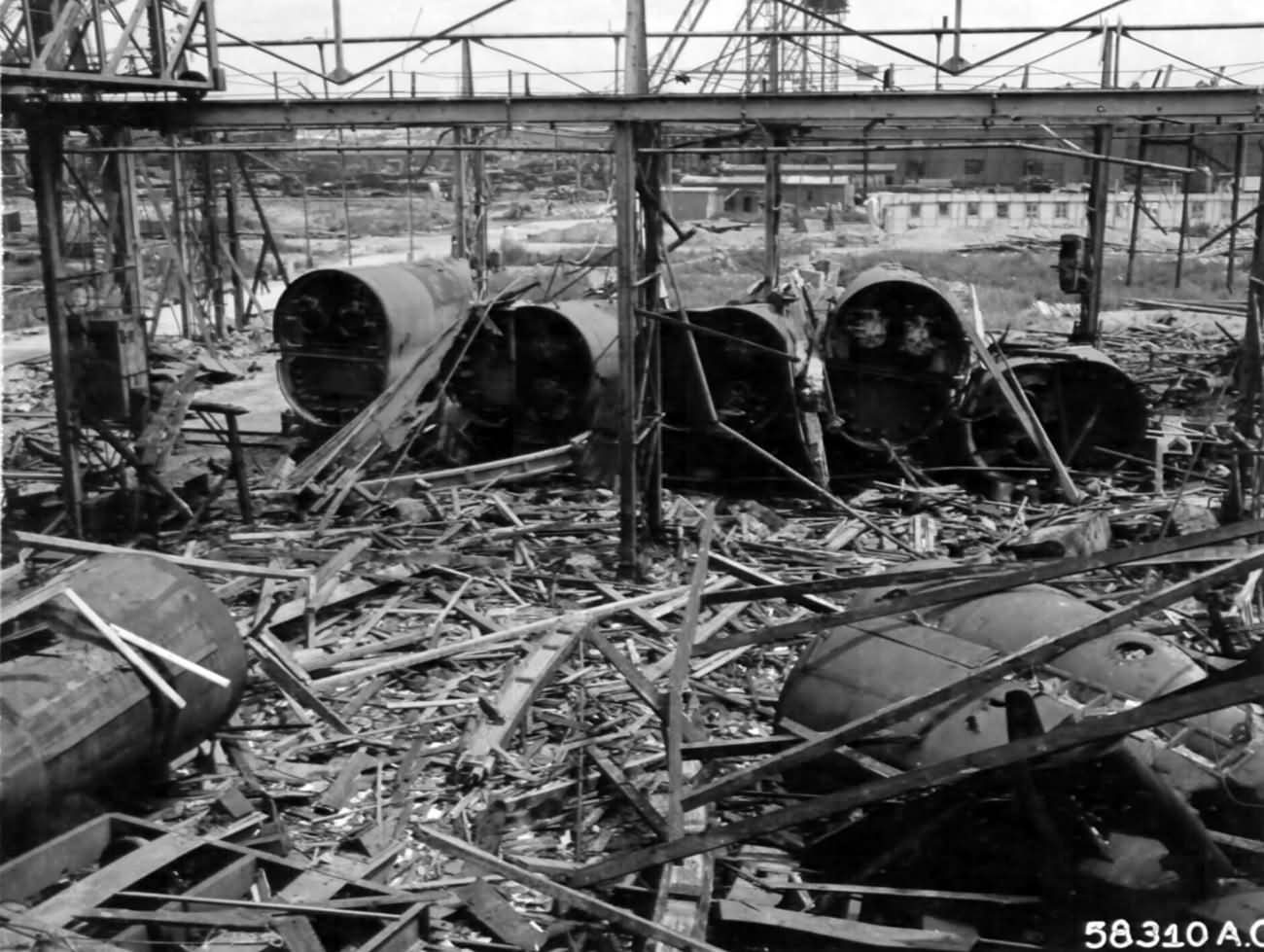 Wreckage Of Pre Fabricated U boat Sections In Submarine Yards At Hamburg 1945