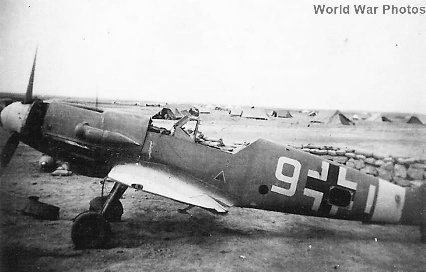 Abandoned Bf109 :White 9″ in African Desert