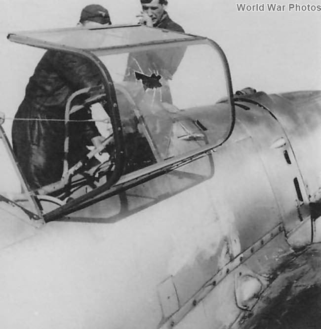 Damaged canopy of Me 109 E from 6/JG 51 France 1940
