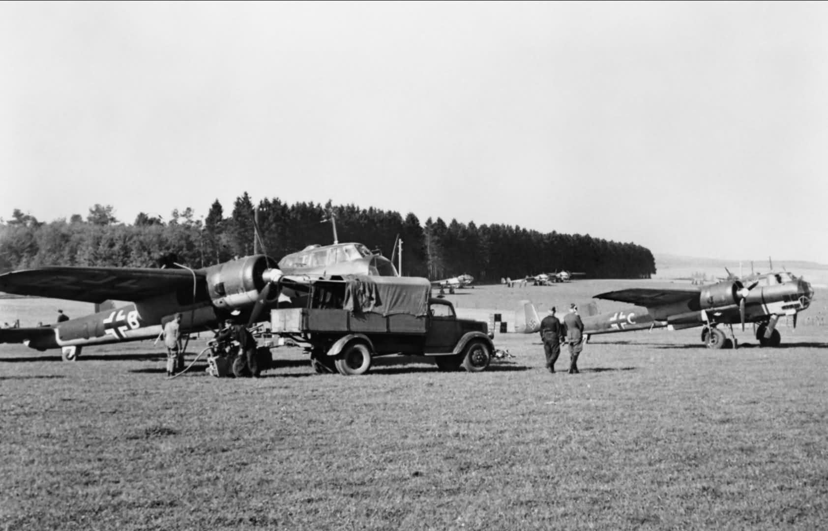 Dornier Do 17Z 3Z+CM and 3Z+BM of II/KG77 being serviced on Freux auxiliary airfield in Belgium