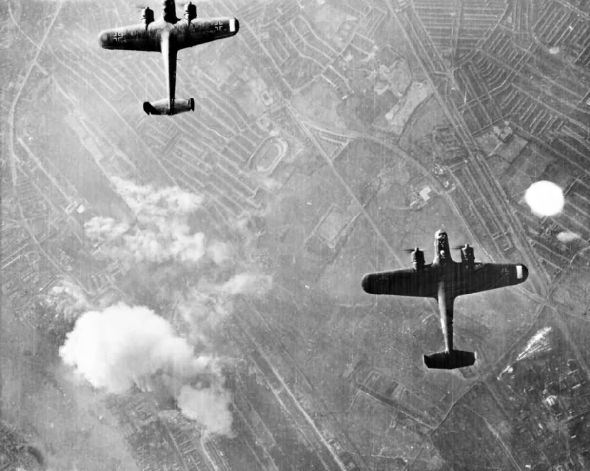 German Dornier Do 17 bombers over West Ham London 7 September 1940