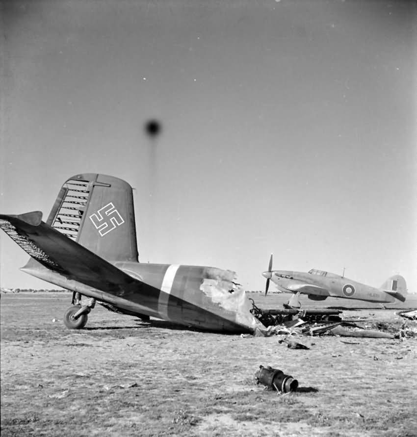 Focke-Wulf Fw200 and Hurricane Mk IIB HL681 274 Sqn – Castel Benito