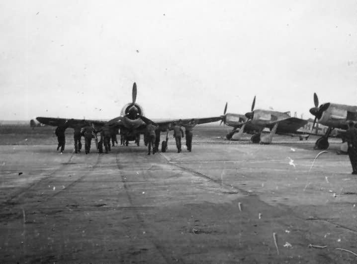 Focke Wulf Fw 190 fighters on Airfield