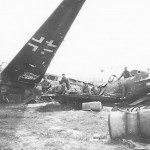 US Troops with Luftwaffe Fw 190 and Bomber Wrecks