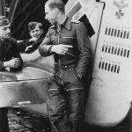 Oberleutnant Adolf Glunz posing