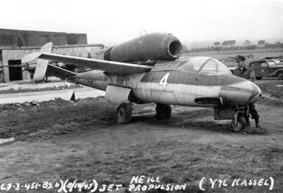 Heinkel He 162 Volksjäger white 4 W.Nr. 120067 ex JG 1 at Kassel-Waldau Y-96 1945