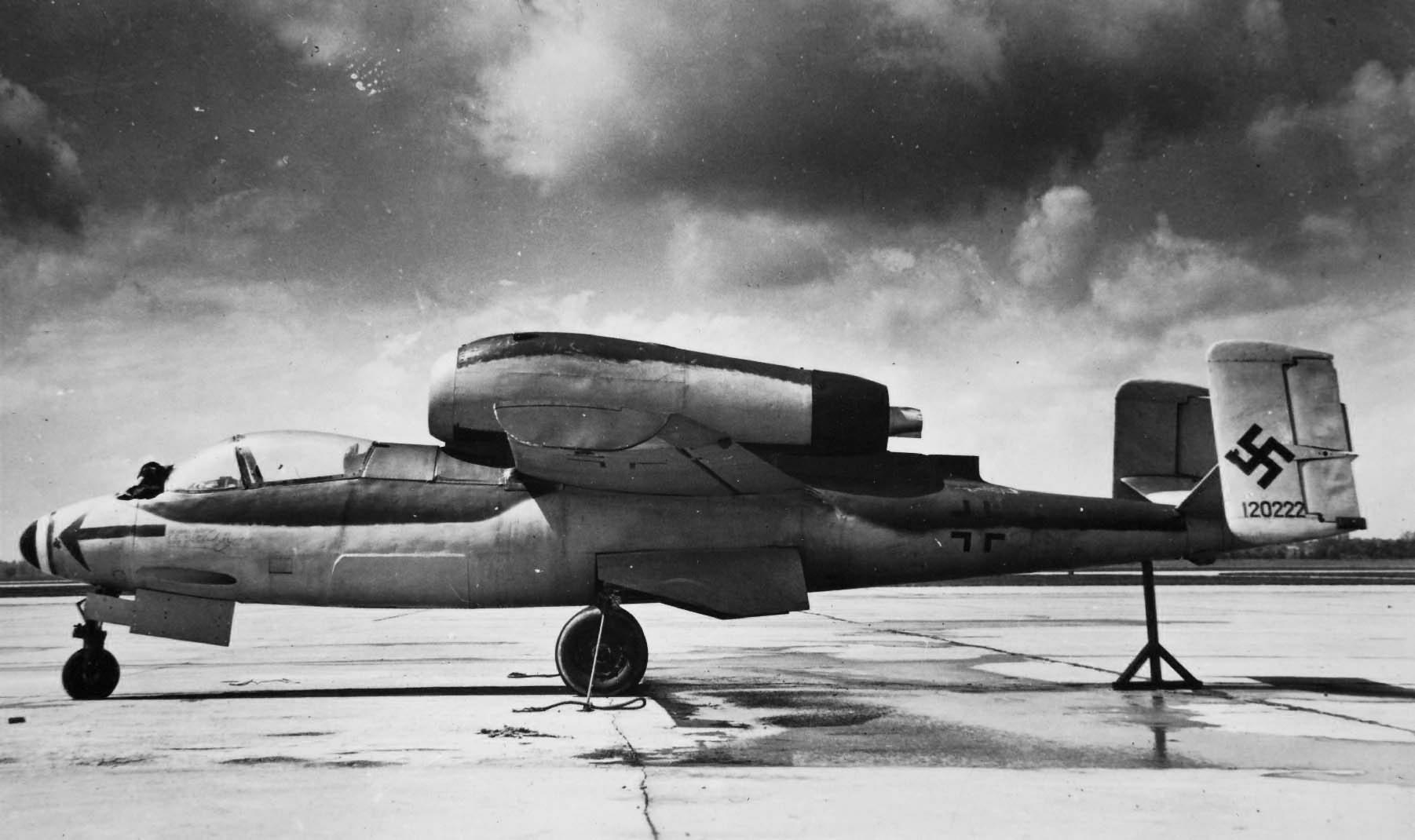Captured He 162 A-2 ex I./JG 1 W.Nr. 120222. Wright Field 1945