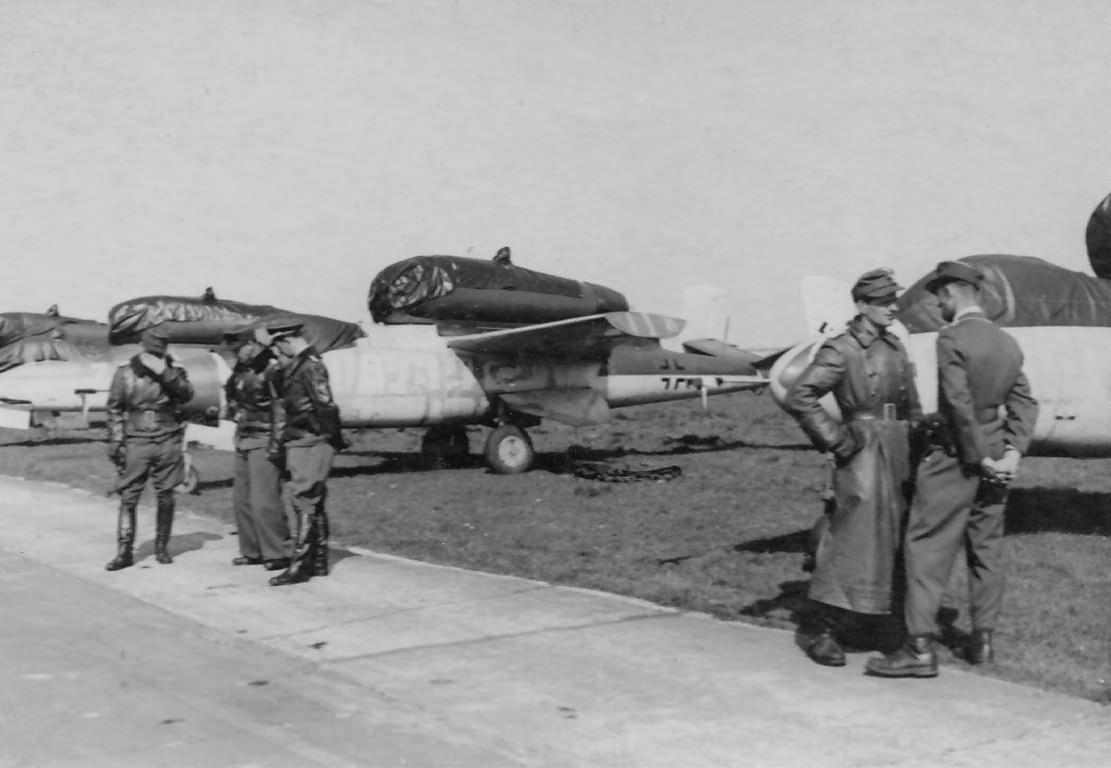 Heinkel He162 of the JG 1 at Leck 1945