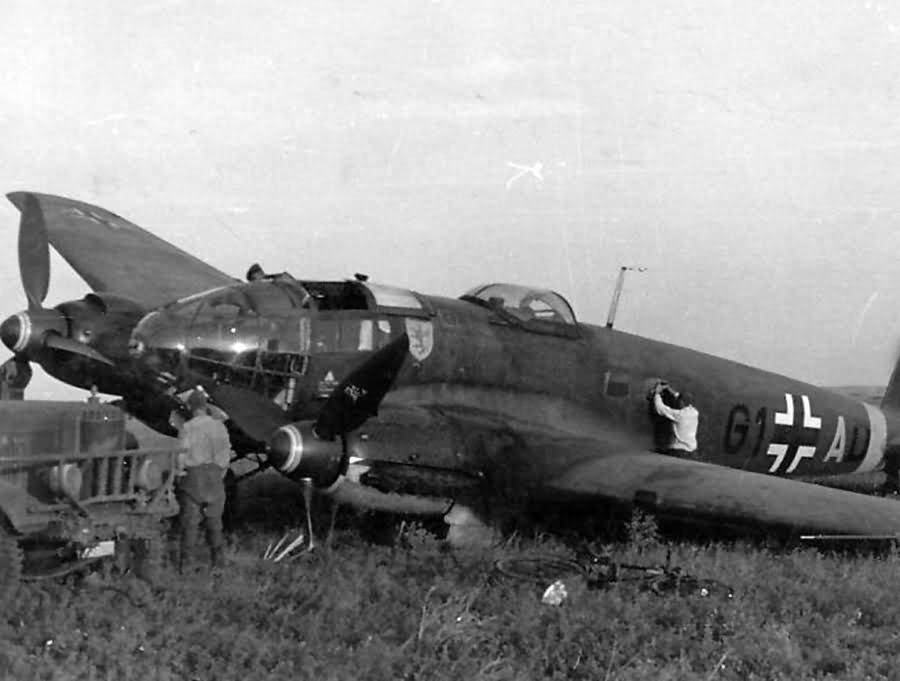 Crashed He 111 H G1+AD of the Stab III/KG 55 Samorsk Krim 1944