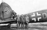 GI Posed by Captured Luftwaffe Bomber He111