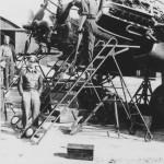 Luftwaffe mechanics at work on a He 111 engines