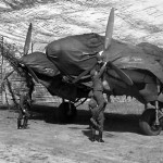 Heinkel He111 bomber – engines and canopy are covered with a tarpaulin to protect it against the weather.