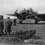 Luftwaffe bomber Heinkel He 111 being refuelled