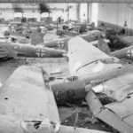 hangar full of wrecked He 111 at Schmarbeck April 1945