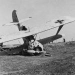 Crashed Henschel Hs 123 with winter camo Eastern Front