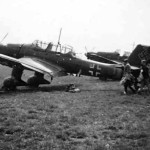 Ju87 B Stuka dive bombers parked landing on an improvised airfield