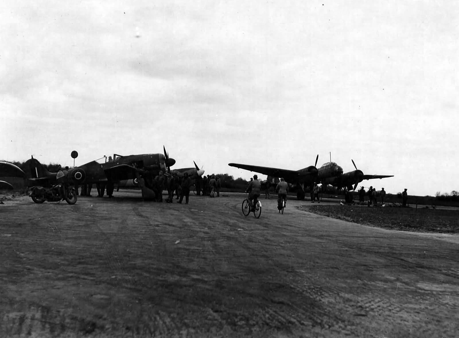 Captured Ju88 and Fw190 England April 1944