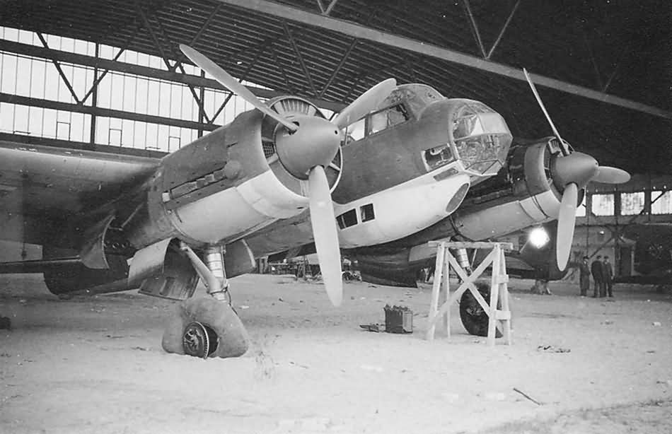Damaged Ju88 in a hangar