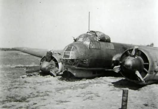 Ju 88 bomber crash at airfield