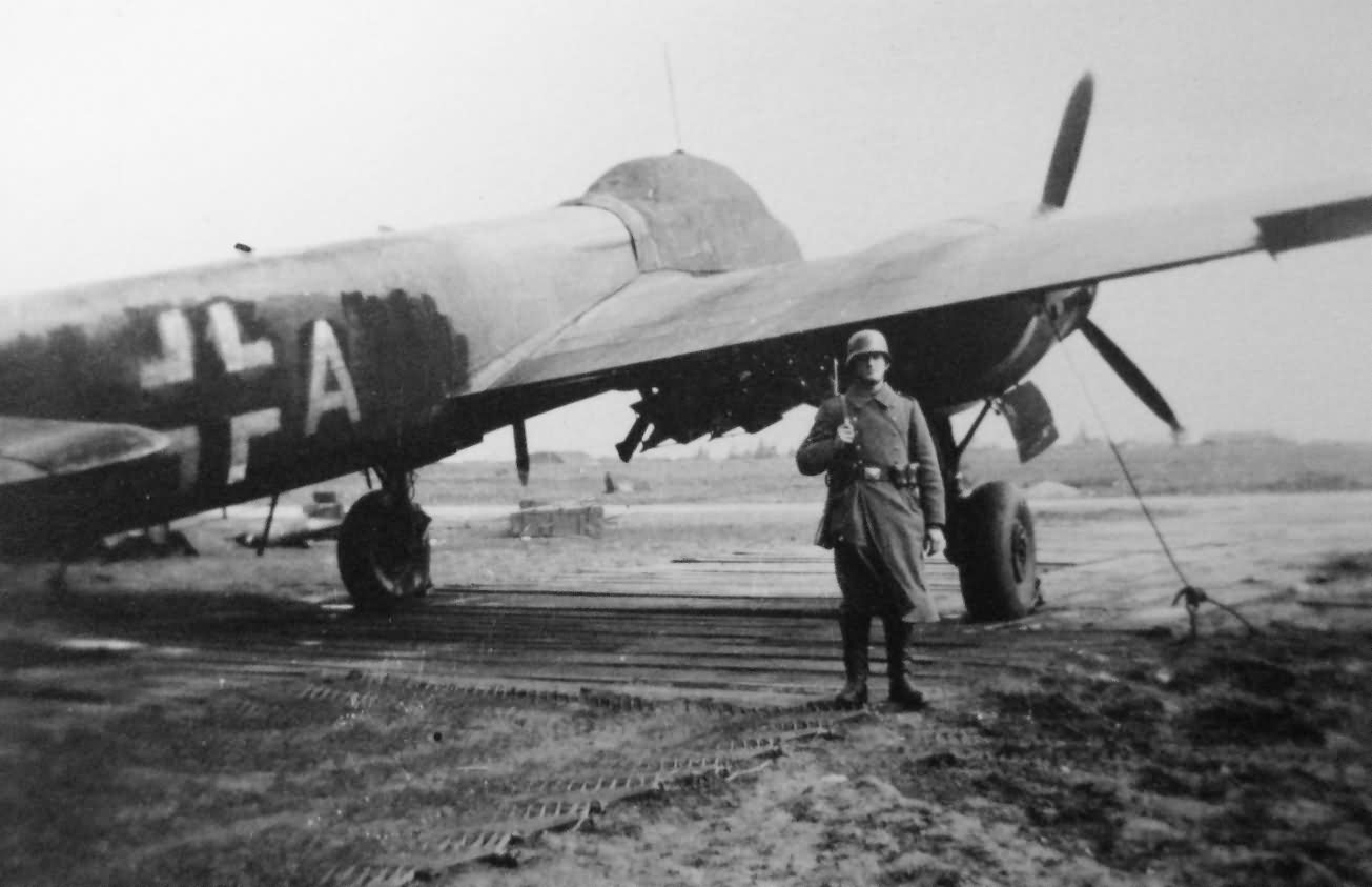 Bomber Ju88 with camouflage for night attacks over England – Beauvais France 1940/41