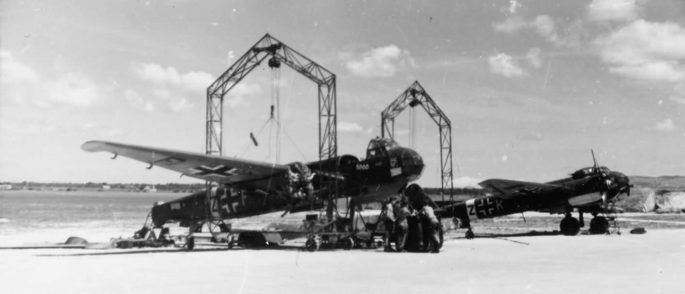 Partially stripped Ju 88 bombers of the KG 77 Italy