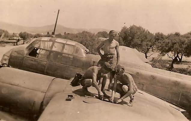 Luftwaffe mechanics servicing a Ju88 Kreta