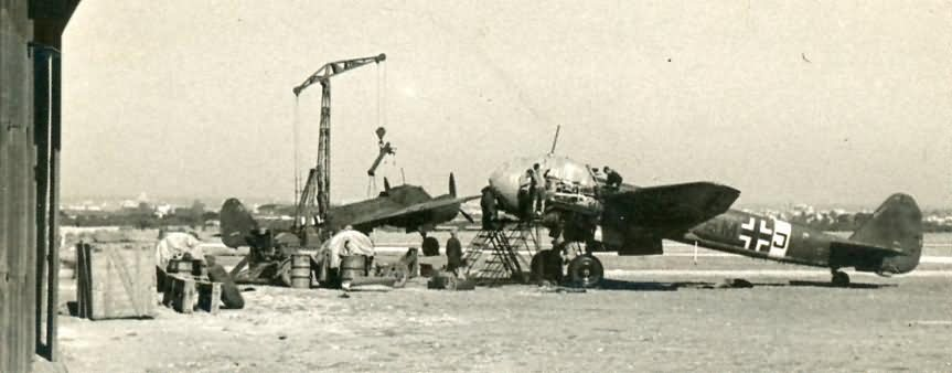 Luftwaffe mechanics servicing a Junkers Ju88 bombers