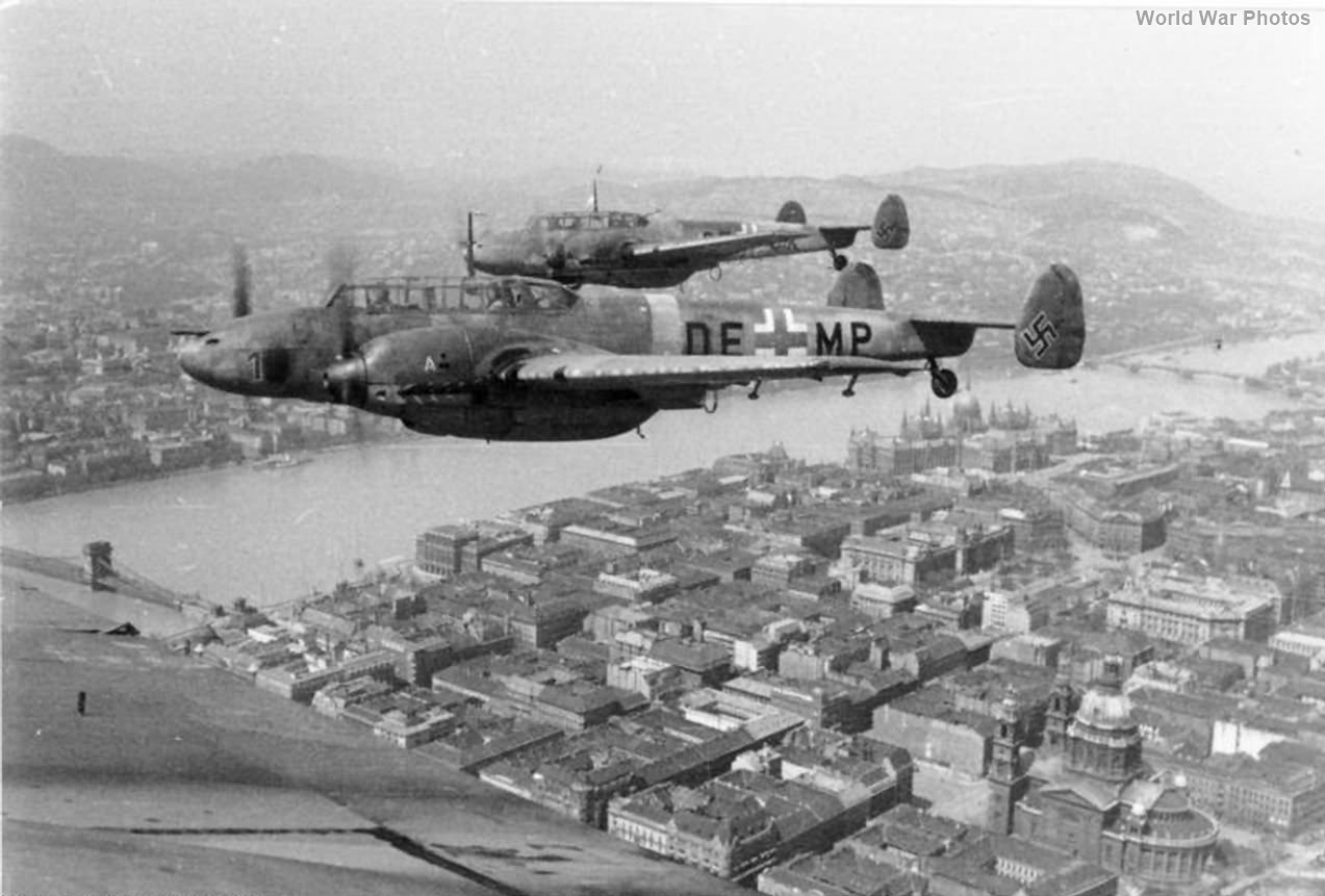 Me 110C-4 over Budapest 1944