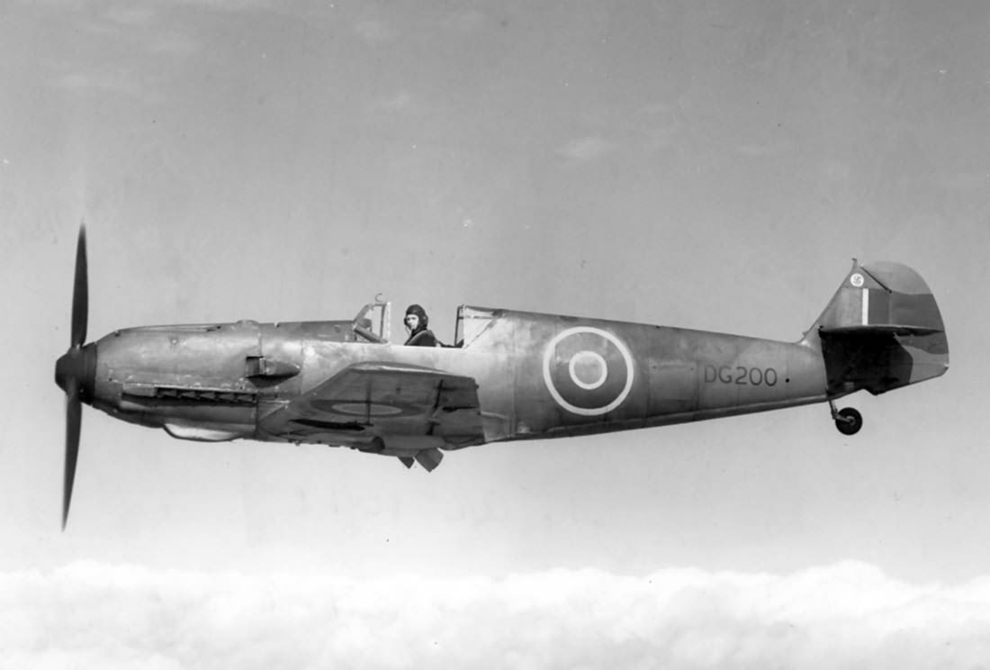 British Bf109E-4 serial DG200 in flight
