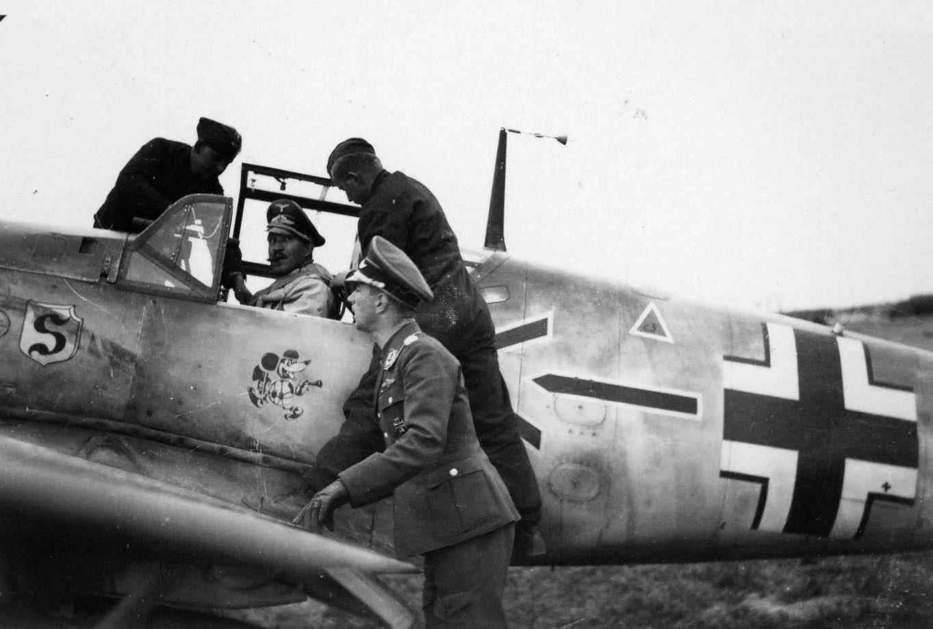 Adolf Galland in cockpit of Bf 109