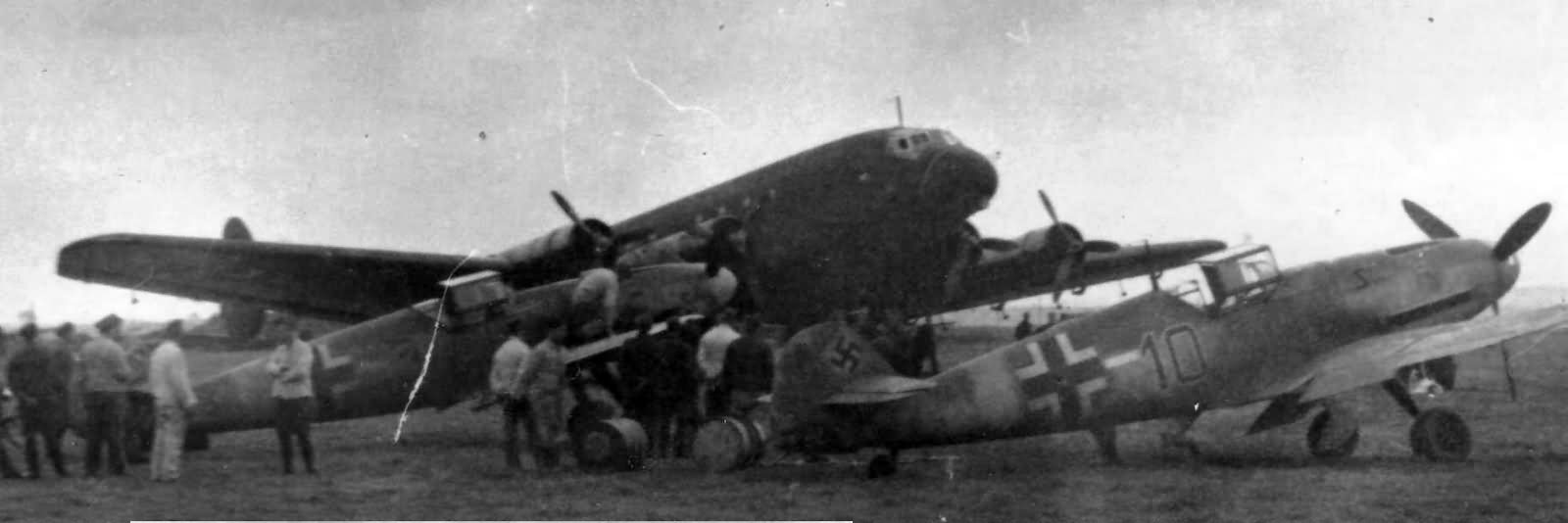 Bf109 fighters and Ju90 in Bucharest Baneasa airfield 1941