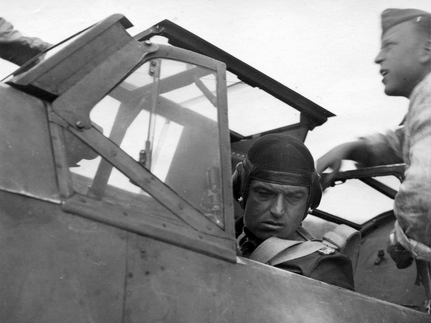 Heinz Bär in cockpit of his Me 109, JG 77