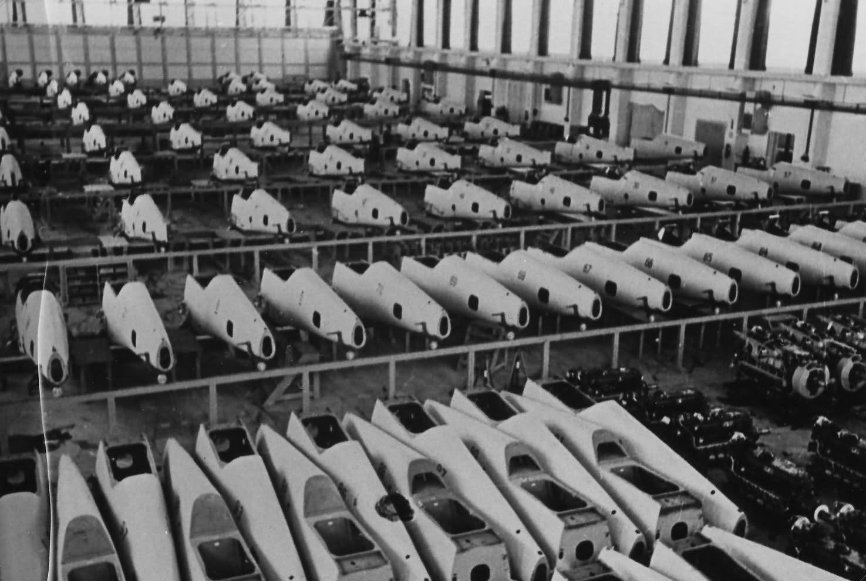 Messerschmitt Bf109 assembly line in Wiener Neustadter Flugzeugwerke