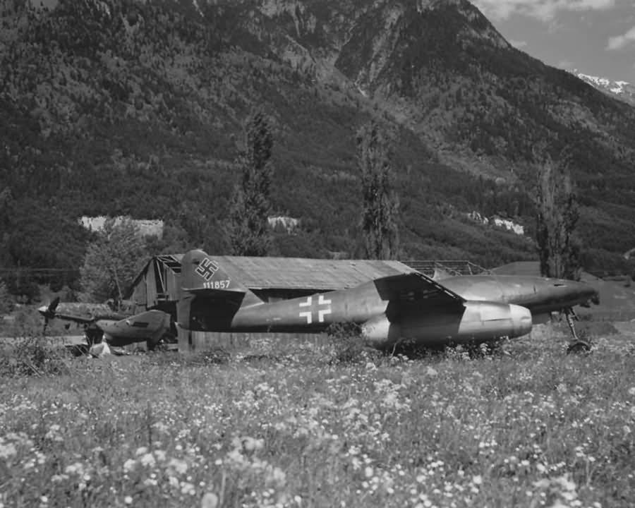 Me262 W Nr 111857 and Junkers Ju87 Stuka Munich Area 1945