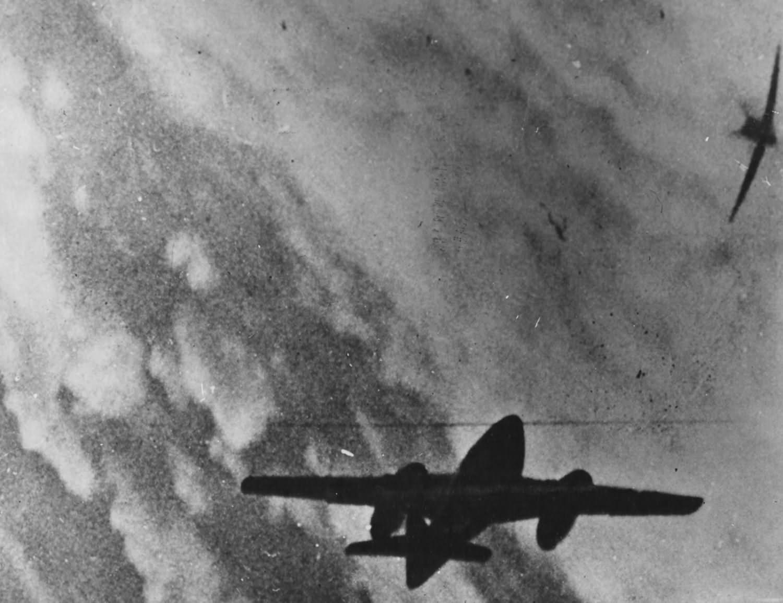 German fighter jet Me 262 in gun camera footage