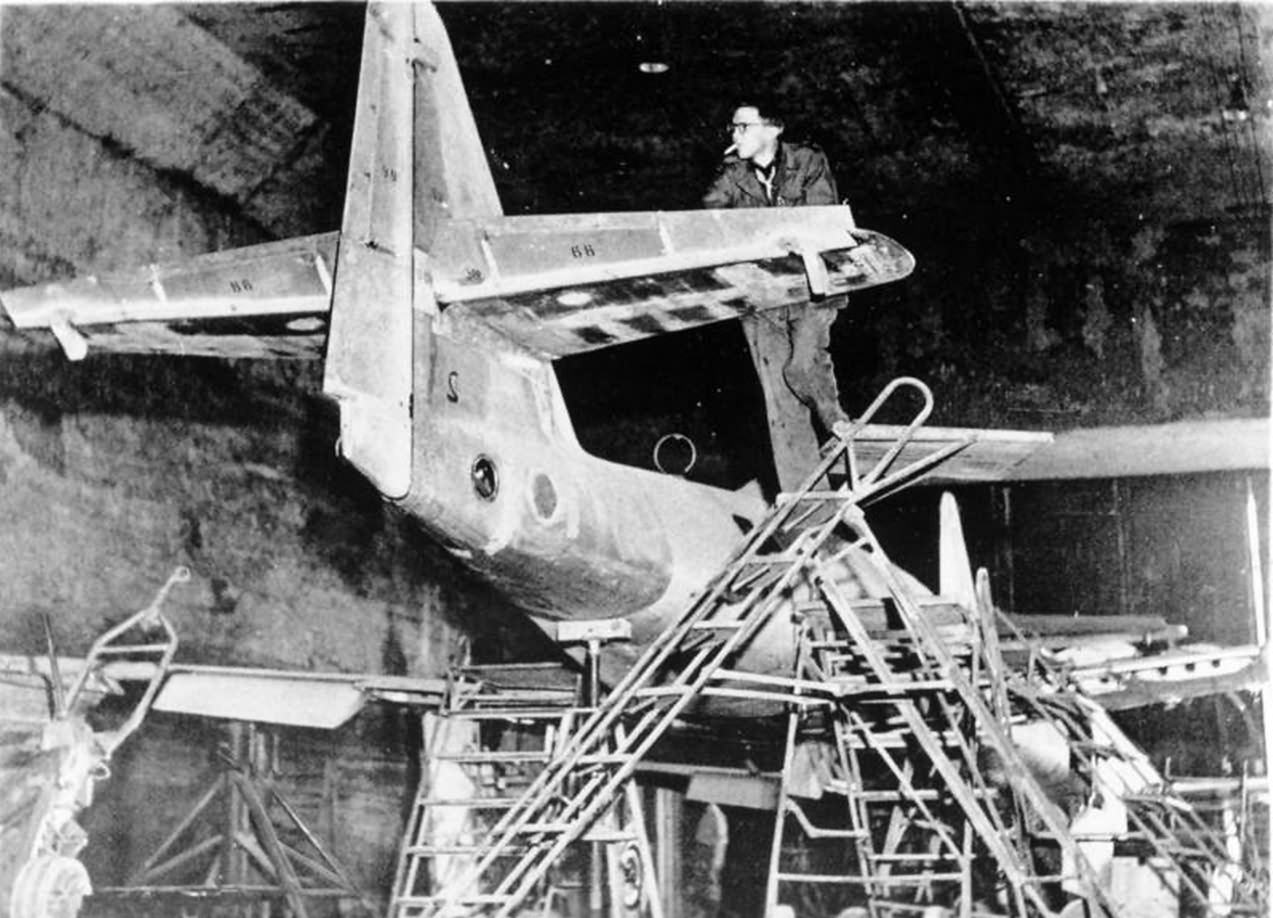 Me 262 assembly line in 1945