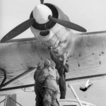 Luftwaffe ground crew work on engine of a Me 323