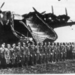 German soldiers stand before boarding a Me 323