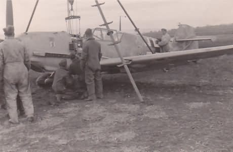 Me109E of the 6/JG 27 belly landing Balkans 1941