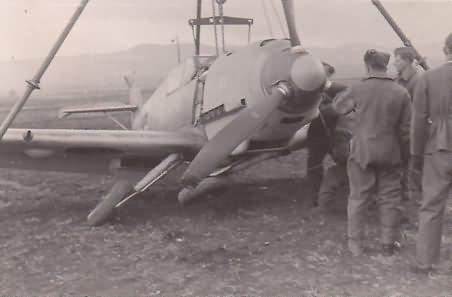 Me109E of 6/JG 27 after slight accident Balkans 1941 2
