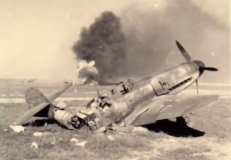 Destroyed Me 109F of III/JG 51 based at Dugino in the Summer of 1942