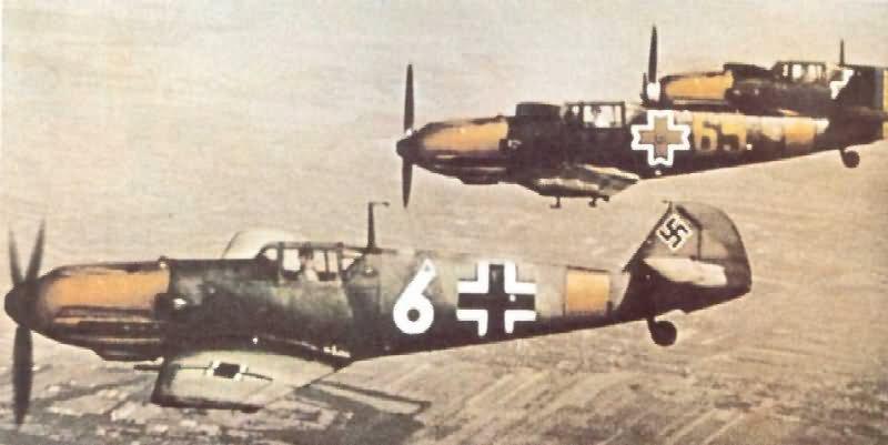 Messerschmitt Bf 109 fighters in flight during World War II