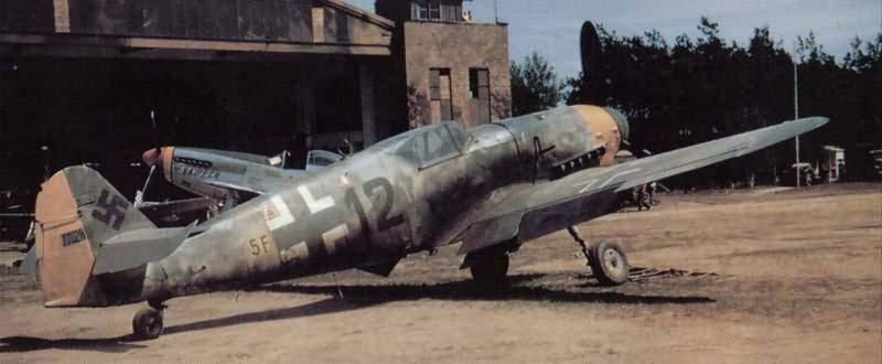 """Captured Messerschmitt Bf109G """"Black 5F+12"""" of the Aufklarungsgruppe 14, color photo"""