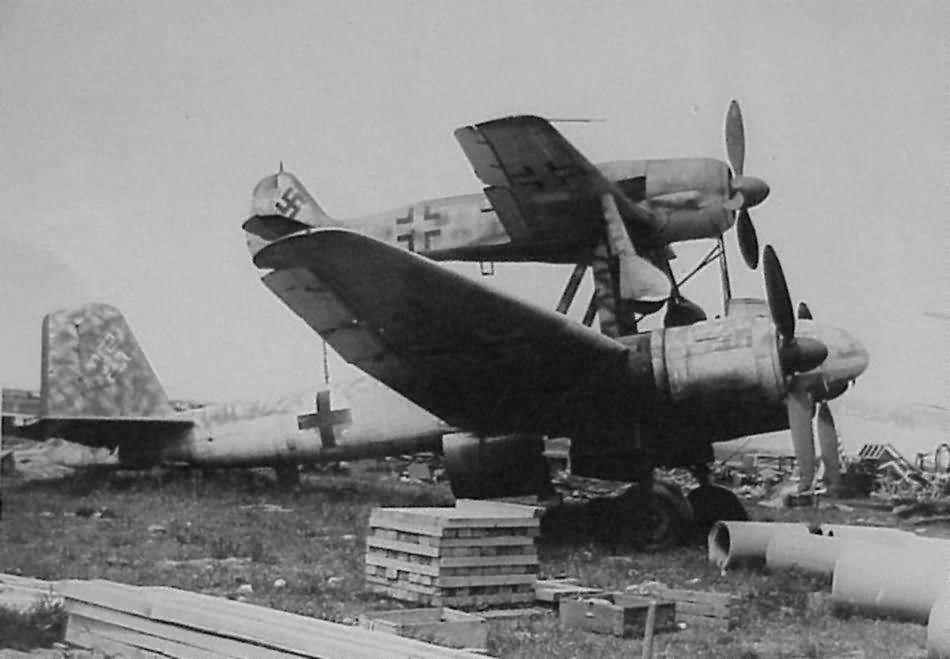 Mistel S2 Ju 88 and Fw 190 Merseburg Germany 1945