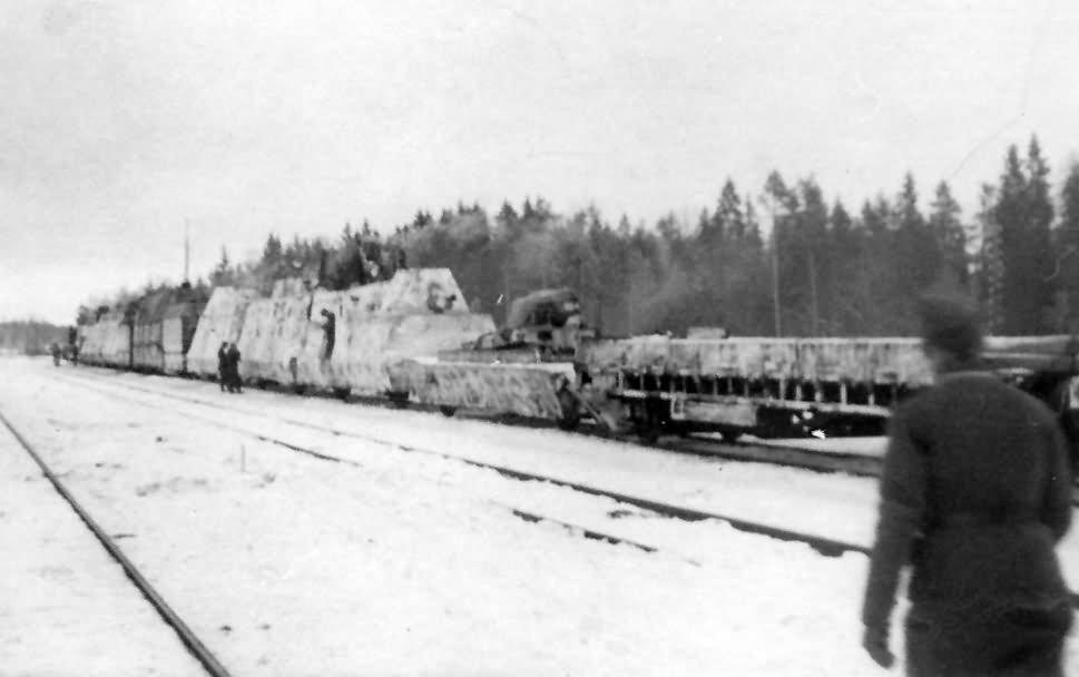 German armored train Panzerzug winter camo